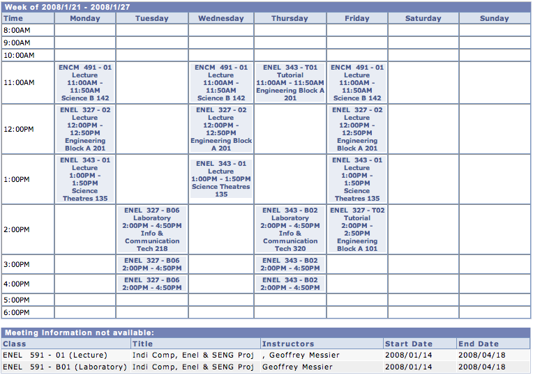 Winter 2008 Schedule